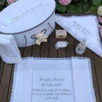 Trusou Elegant Botez Gri la Cufar Personalizat cu data si nume si mesaj nasi- Cu Ursulet .