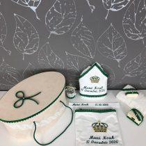 Trusou Botez Regal Verde  La Cufar – Personalizat Prin Broderie.